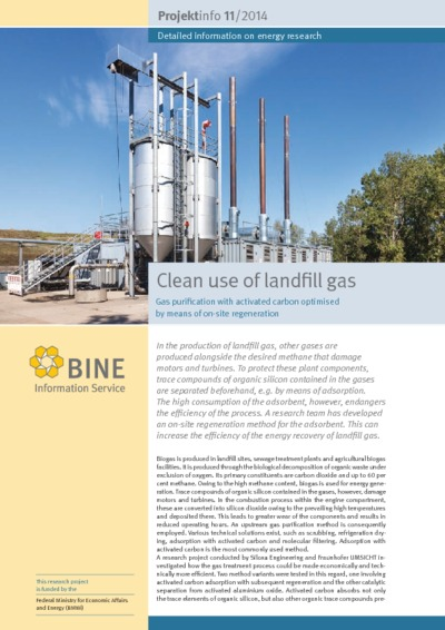 Clean use of landfill gas. Gas purification with activated carbon optimised by means of on-site regeneration.