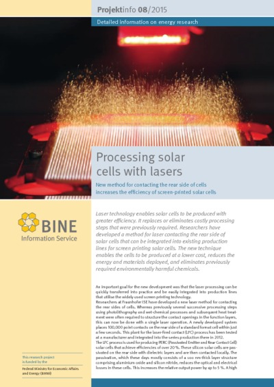 Processing solar cells with lasers. New method for contacting the rear side of cells increases the efficiency of screen-printed solar cells.