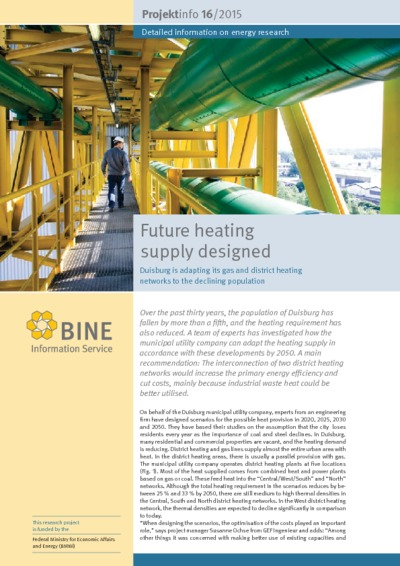 Future heating supply designed. Duisburg is adapting its gas and district heating networks to the declining population.
