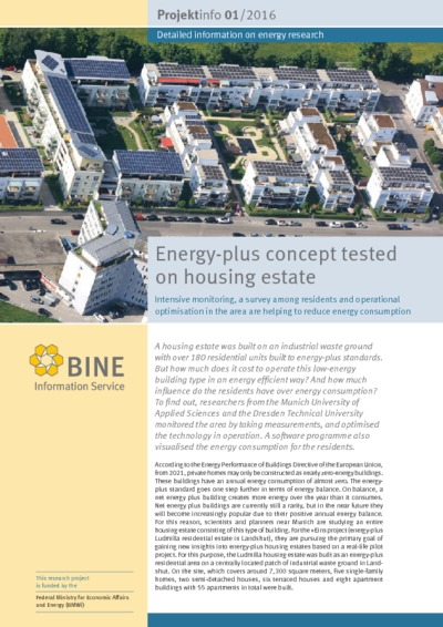 Energy-plus concept tested on housing estate. Intensive monitoring, a survey among residents and operational optimisation in the area are helping to reduce energy consumption.
