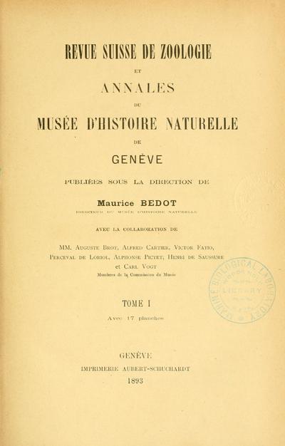 Revue suisse de zoologie.