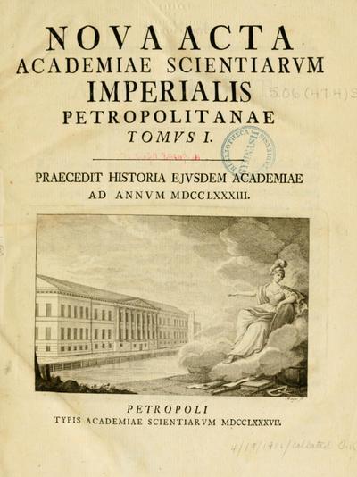 Nova acta Academiae scientiarum imperialis petropolitanae.