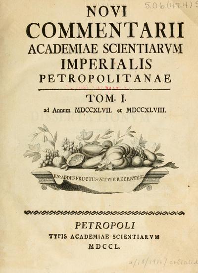 Novi Comment.Acad.Sci.Imp.Petropol.