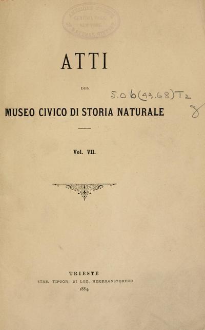 Atti Mus. civ. stor. nat. Trieste.