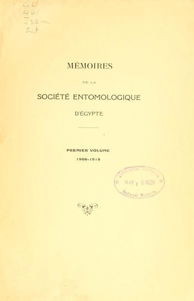 Mémoires de la Société entomologique d'Egypte