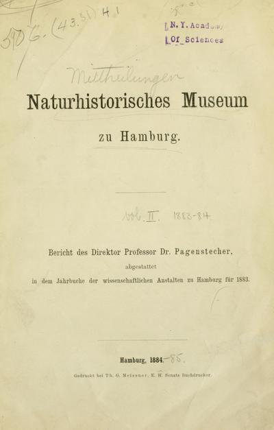 Mitteilungen aus dem Naturhistorischen Museum in Hamburg.