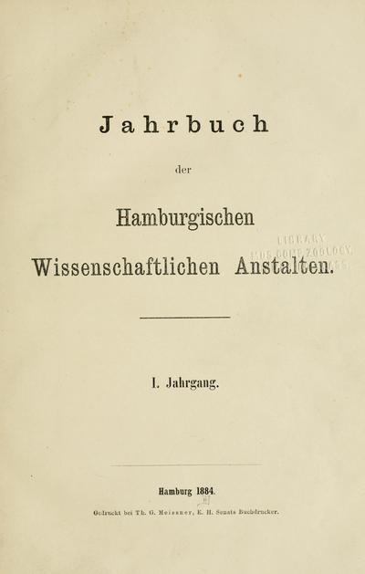 Jahrbuch der Hamburgischen Wissenschaftlichen Anstalten.