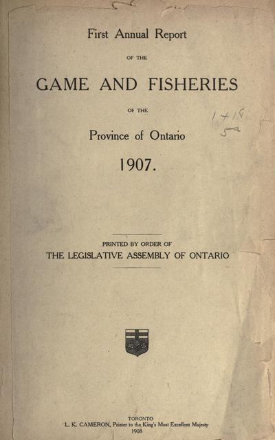 Annual report of the game and fisheries of the Province of Ontario