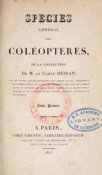 Species général des coléoptères de la collection de m. le comte Dejean ...