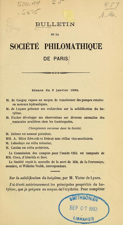 Bulletin de la Société philomathique de Paris.