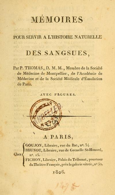 Memoires pour servir a l'histoire naturelle des sangsues /