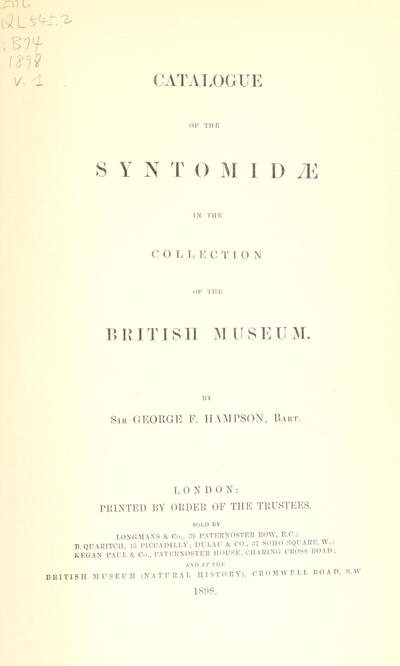 Catalogue of the Lepidoptera Phalænæ in the British museum.