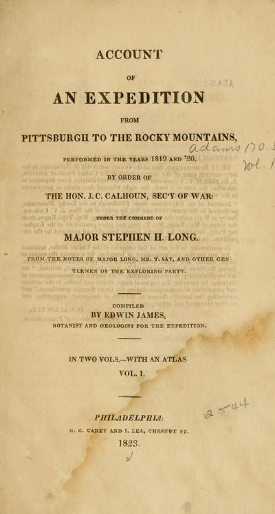 Major Long's expedition to the Rocky Mountains