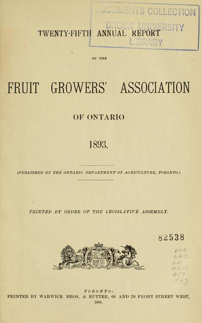 Annual report of the Fruit Growers' Association of Ontario