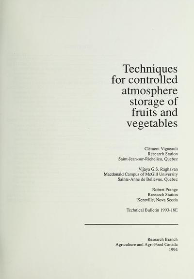 Techniques for controlled atmosphere storage of fruits and vegetables /