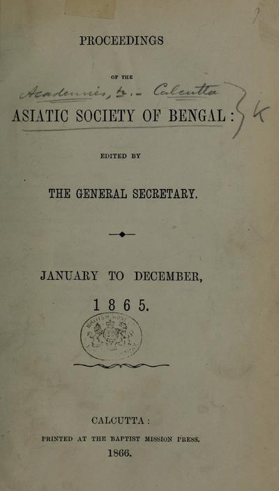 Proceedings of the Asiatic Society of Bengal.