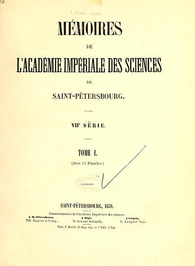 Mémoires de l'Académie impériale des sciences de St.-Pétersbourg.