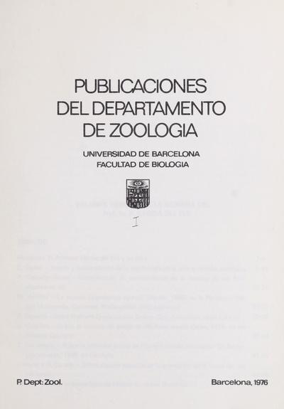 Publicaciones del Departamento de Zoología.