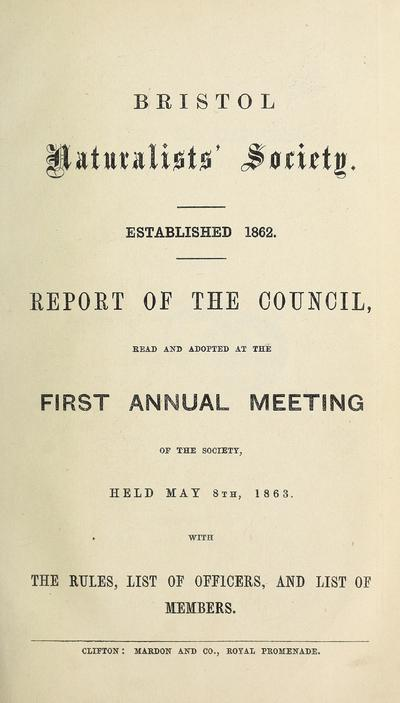 Annual report and proceedings of the Bristol Naturalists' Society