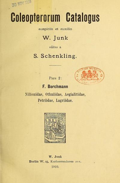 Coleopterorum catalogus.