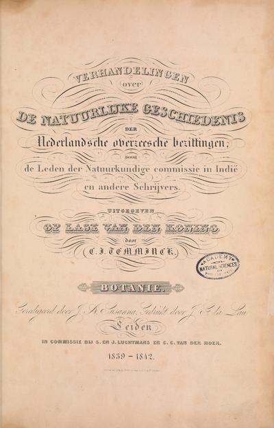 Verhandelingen over de natuurlijke geschiedenis der Nederlandsche overzeesche bezittingen /
