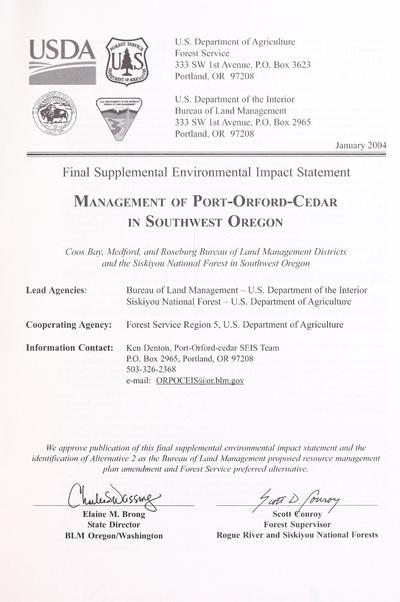 Final supplemental environmental impact statement