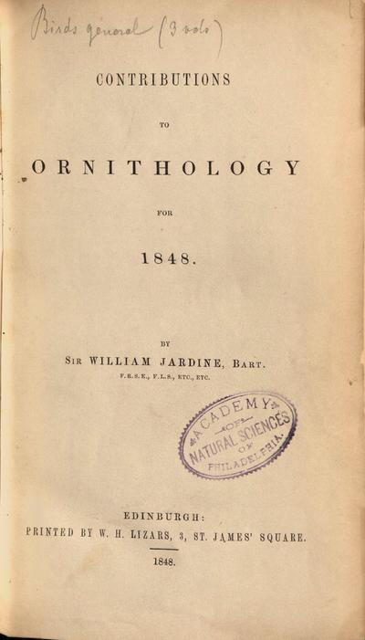 Contributions to ornithology for 1848-1853 /