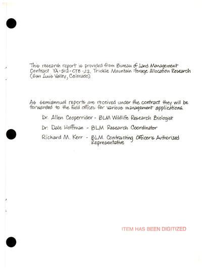 Trickle Mountain forage allocation research, report no. 2