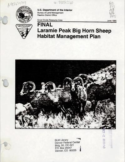 Final Laramie Peak bighorn sheep habitat management plan