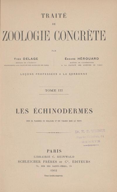 Traité de zoologie concrète : leçons professées à la Sorbonne
