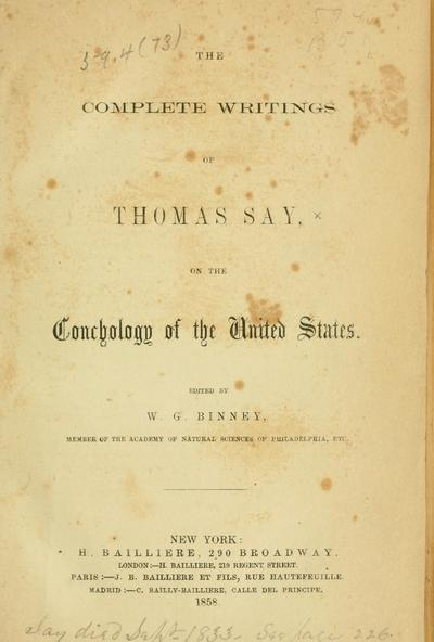 On the conchology of the United States