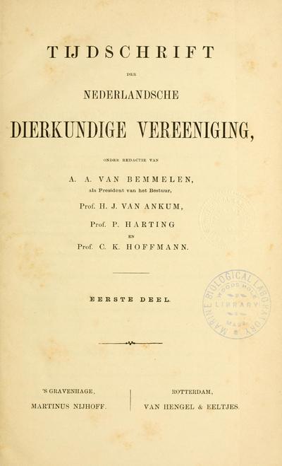 Tijdschrift der Nederlandsche Dierkundige Vereeniging.