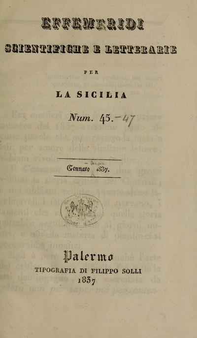 Effemeridi Scientifiche e Letterarie per la Sicilia.