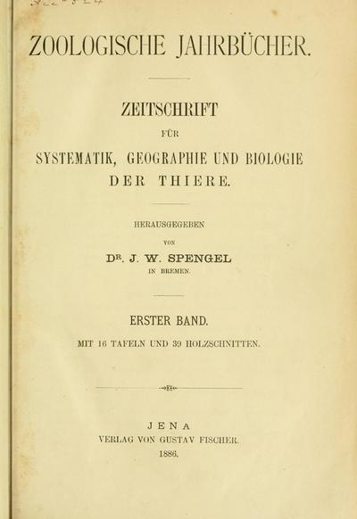 Zoologische Jahrbücher.