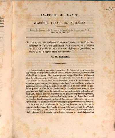 Observations faites dans les Alpes sur la temperature d'ebullition de l'eau par MM. Peltier et Bravais :(Extrait des Comptes rendus des séances de l'Acad. D. Sc. T. XVIII, séance du 1er avril 1844)