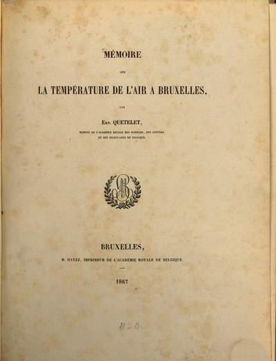 Mémoire sur la température de l'air à Bruxelles