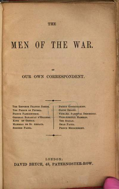 ˜Theœ men of the war :the Emperor Francis Joseph, the Prince of Prussia, Prince Paskiewitsch ...