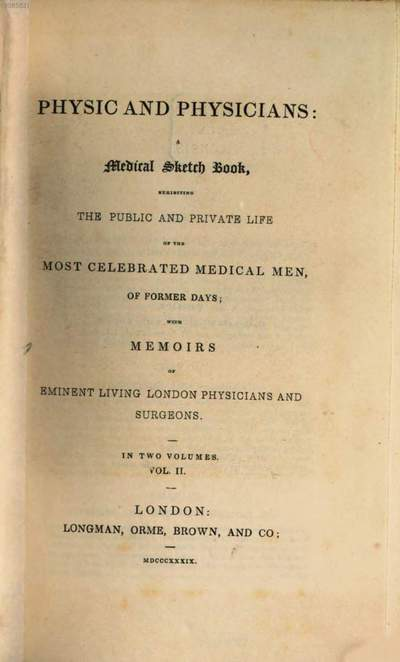 Physic and Physicians :A medical sketch book. Vol. 2