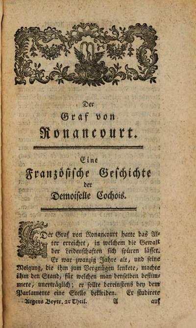 ˜Desœ Herrn Marquis d'Argens und der Demoiselle Cochois gemeinschaftliche Beyträge zum Vergnügen für den Geist und das Herz :Aus dem Französischen übersetzt. 2