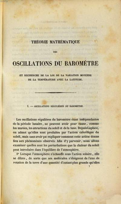 Théorie mathématique des oscillations du Baromètre et recherche de la loi de la variation moyenne de la température avec la latitude :Addition à un mémoire intitulé: Théorie math. ... (4 S.)