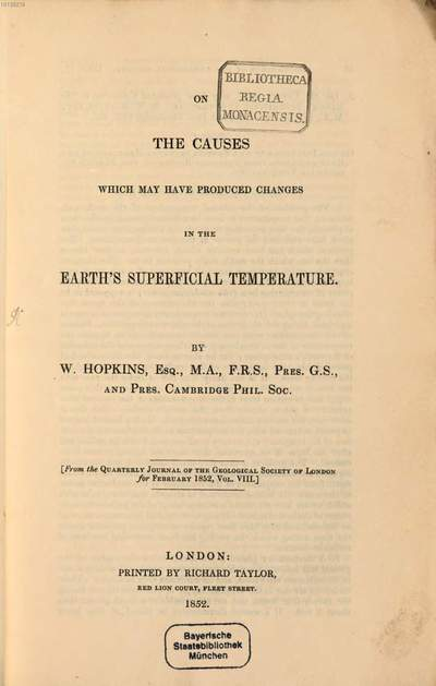 On the causes which may have produced changes in the earth's superficial temperature