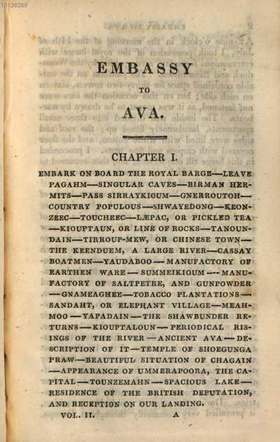 ˜Anœ account of an embassy to the Kingdom of Ava, in the year 1795 :to which is now added, a narrative of the late military and political operations in the Birmese empire ... ; in two volumes. 2