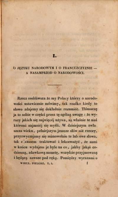 Wieczory Pielgrzyma :Rozmaitości moralne, literackie i polityczne. 1