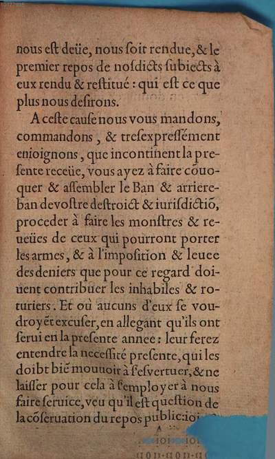 Lettres patentes du Roy ... pour la convocation du ban ...