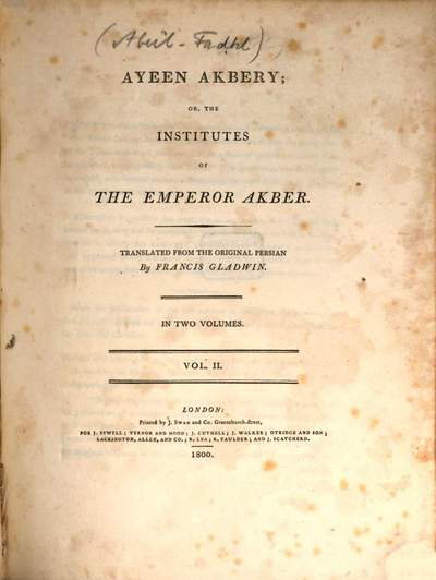Ayeen Akbery or the institutes of the emperor Akber. 2