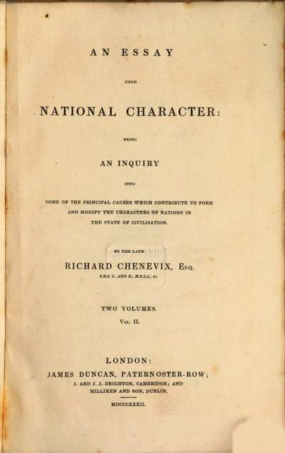 ˜Anœ Essay Upon National Character :Being An Inquiry Into Some Of The Principal Causes Which Contribute To Form and Modify The Characters Of Nations In The State Of Civilisation. 2