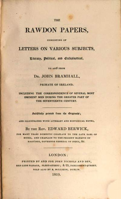 ˜Theœ Rawdon Papers :consisting of Letters on various Subjects, literary, Political and Ecclesiastical