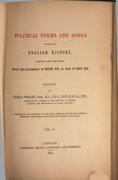 Political poems and songs relating to English history :composed during the period from the accession of Edw. III. to that of Ric. III.. 2