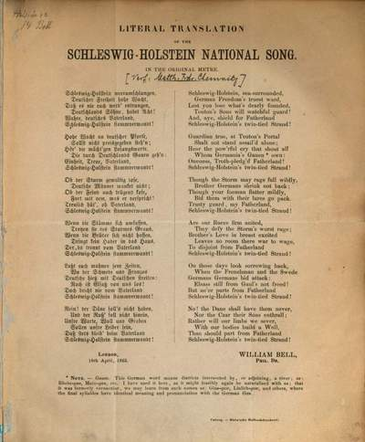 Literal Translation of the Schleswig-Holstein national song :In the original metre.