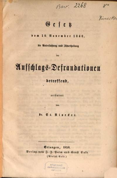Gesetz vom 10. November 1848, die Untersucvhung und Aburtheilung der Aufschlagsdefraudationen betreffend